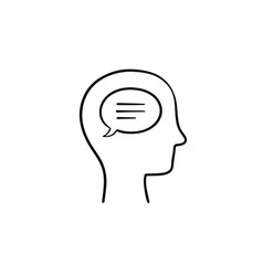 think bubble in humans head hand drawn outline vector image