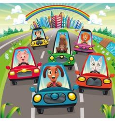 Traffic on road vector