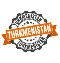 Turkmenistan round ribbon seal vector