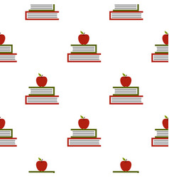 Two books with red apple pattern seamless vector