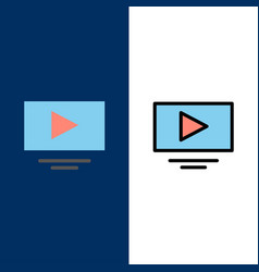 Video play youtube icons flat and line filled vector