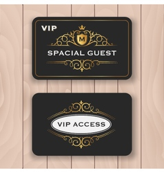 VIP access card with golden flourish frame vector