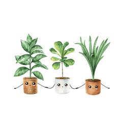 Watercolor cute cartoon houseplant in pots vector