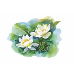 Watercolor white water-lilly flowers pattern with vector