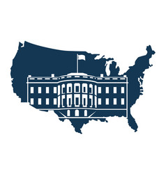 white house on background map vector image