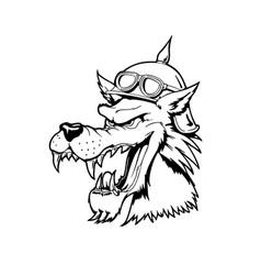Wolf head animal cartoon character vector