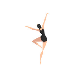 young professional ballerina in black leotard vector image