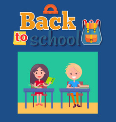 back to school poster with inscription and bag vector image vector image