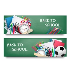 Back to schoolTwo banners with school supplies vector image vector image