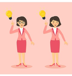 Businesswomen Get Idea vector image