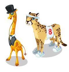giraffe in suit and leopard in sports uniform vector image vector image