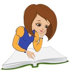 Girl reading book cartoon vector image vector image