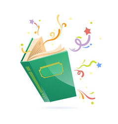 Green covered opened book with pages fluttering vector