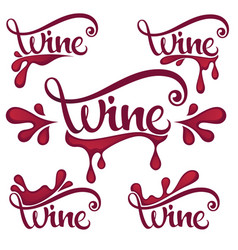 young wine red wine splashes waves and drops vector image vector image