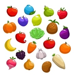 Cartoon fruits berries and vegetable icons vector image