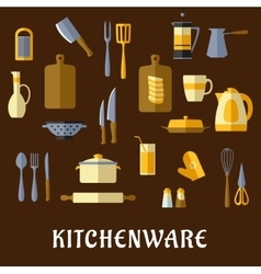 Kitchenware and utensil flat icons vector image vector image
