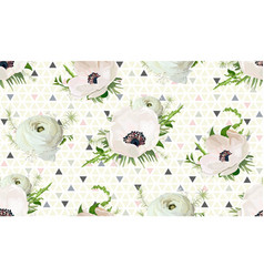 seamless pattern bouquets of pink anemone white vector image vector image