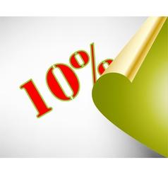 Ten percent discount coupon vector image vector image