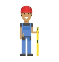Worker in hard hat measure with yellow ruler blue vector image