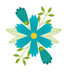 blue decorative flower spring season vector image