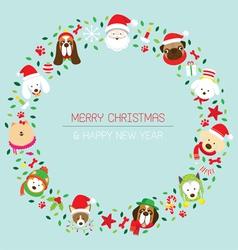 Christmas and dog breeds wreath vector