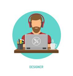 designer freelancer working on laptop vector image