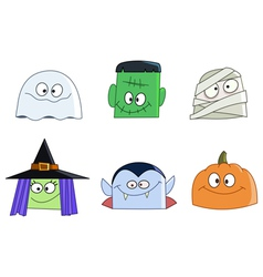 halloween faces vector image
