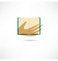 Hand and the open book vector