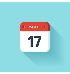 March 17 isometric calendar icon with shadow vector