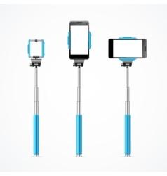 Monopod Selfie Blue Set vector image vector image