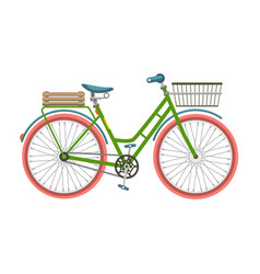 retro bicycle bike with basket isolated on white vector image