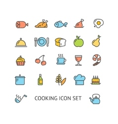 Cooking Colorful Outline Icon Set vector image vector image