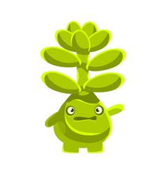 cute worried succulent emoji cartoon emotions vector image vector image