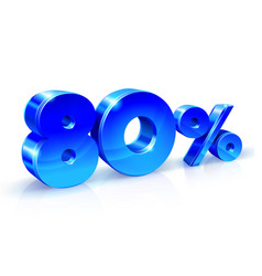 glossy blue 80 eighty percent off sale isolated vector image