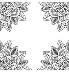 Indian floral frame for coloring pages book vector image vector image
