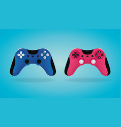 realistic gamepad blue and pink video game vector image vector image
