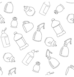 Seamless line kitchen elements pattern vector image vector image