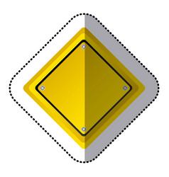 Sticker yellow diamond shape traffic sign icon vector