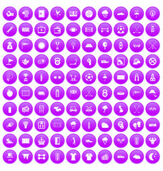 100 golf icons set purple vector