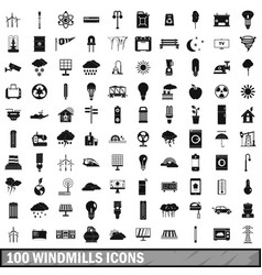 100 windmills icons set simple style vector