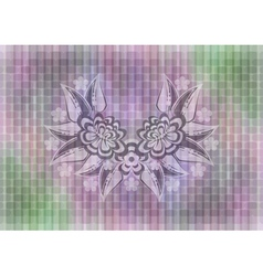 Abstract floral ornament on mosaic background vector