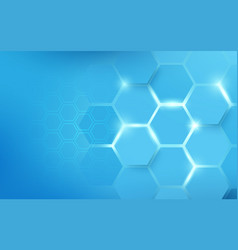 abstract hexagons pattern blue technology concept vector image