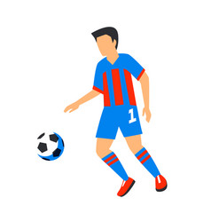 abstract in blue football player with ball soccer vector image