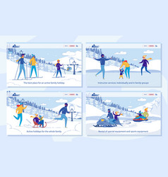 active family winter holidays with sport activity vector image