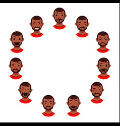 American african men facial expression vector