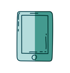 Aquamarine hand drawn silhouette of tablet device vector