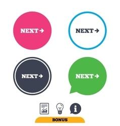 Arrow sign icon Next button Navigation symbol vector image