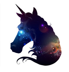 Artistic silhouette of fantasy animal unicorn vector
