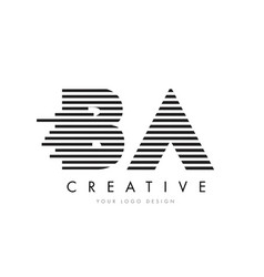 Ba b a zebra letter logo design with black and vector