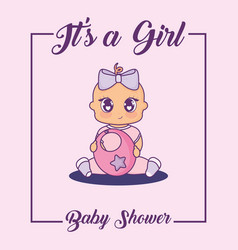 Baby shower card with little girl and bib vector